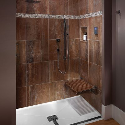 Age in place construction work - walk-in shower in bathroom
